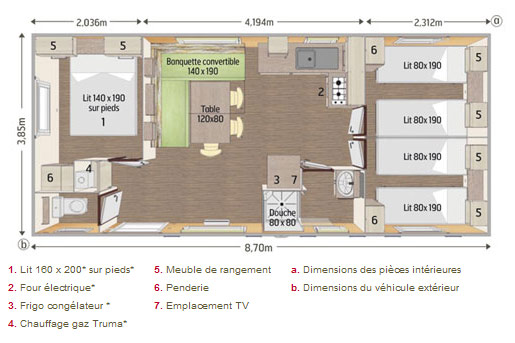 Mobil home PACA Loft Plan